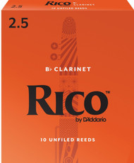 D'Addario Rico Bb Clarinet Reeds, Strength 2.5, 10-pack