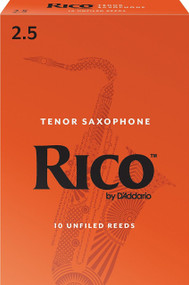 D'Addario Rico Tenor Saxophone Reeds, Strength 2.5, 10-pack
