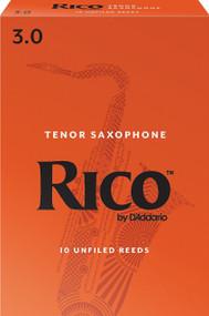 D'Addario Rico Tenor Saxophone Reeds, Strength 3.0, 10-pack