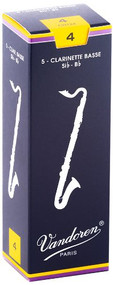Vandoren Traditional Bb Bass Clarinet Reeds, Strength 4.0, Box of 5