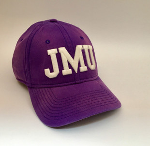 Purple Relaxed Canvas Hat with Block JMU Letters