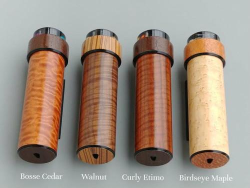 It Figures Wooden Kaleidoscope.  Wood choices (main barrel): Bosse Cedar, Walnut, Curly Etimo'e and Bird's Eye Maple (left to right)