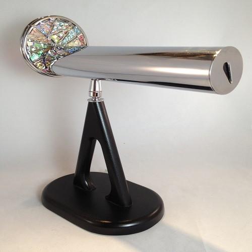 Kaleidoscope - Small Pedestal with Dichroic Wheel in Chrome by Jon Greene   Chesnik Scopes on custom black swiveled pedestal base