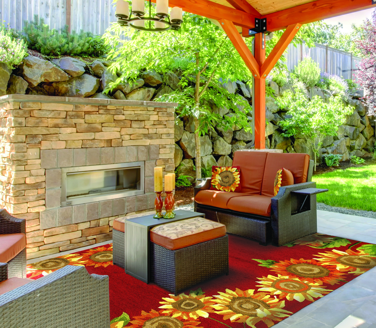 This beautiful Indoor/Outdoor area rug is made from the softest of polypropylene yarns.   Rich reds, and warm yellows, will make this an inviting accent to any room.