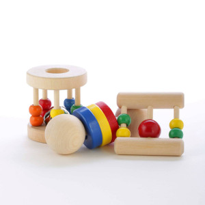 Our natural baby rattle gift pack includes all three of our natural wooden baby rattles to soothe and delight babies throughout their development. The Ladder can be grasped by the smallest of hands, the Ring Shaker is a great teether, and the wooden Roller Rattle keeps older babies entertained for hours. Choke-safe and non-toxic. Made in Oregon, USA.