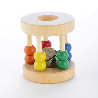 Our most popular baby rattle. The Roller Rattle features 10 colorful wooden beads and a jingle bell inside. Choke-safe and non-toxic. Dimensions: 3 x 2.5 inches. Ages: 4+ months. Handcrafted in Oregon, USA.