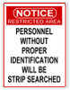 """""""RESTRICTED  AREA""""  WARNING  METAL  SIGN"""