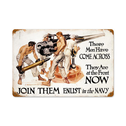 """THESE MEN WHO ENLIST IN THE NAVY""  METAL SIGN"