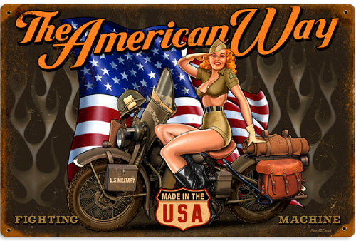"""AMERICAN WAY"" VINTAGE METAL SIGN"