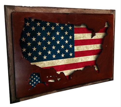 """""""3-D USA MAP DISPLAY"""" -- FRAMED WALL ART"""