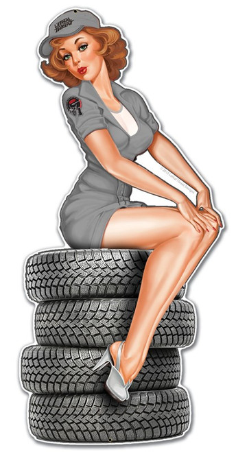 """TIRE BABE"" METAL SIGN"