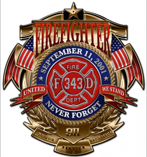 """FIREFIGHTER-9/11--NEVER FORGET""  METAL  SIGN"