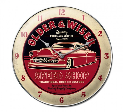 """OLDER AND WISER SPEED SHOP"" CLOCK"