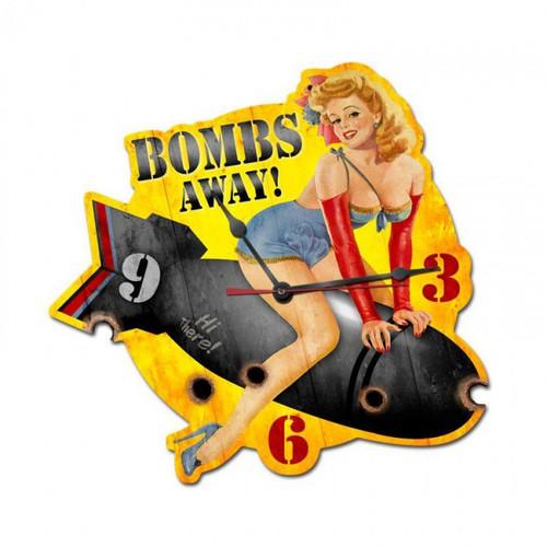 """""""PIN-UP GIRL BOMBS AWAY""""  CLOCK"""