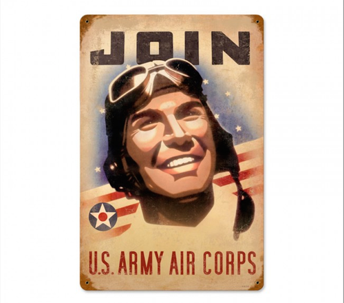 """JOIN  U.S.  ARMY  AIR  CORPS""  VINTAGE  METAL SIGN"