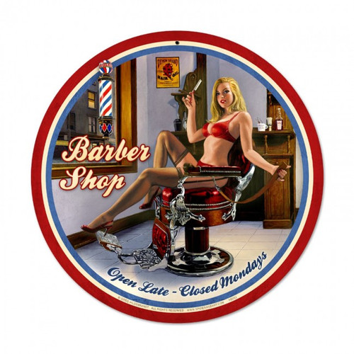 """BARBER  SHOP""  METAL  SIGN"