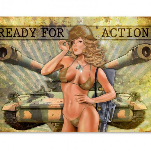 """READY  FOR  ACTION""  METAL  SIGN"