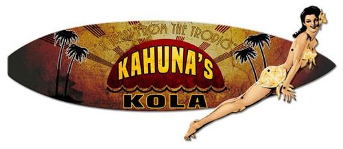 """3-D Kahuna Kola Surf Board""  Metal  Wall  Sign"