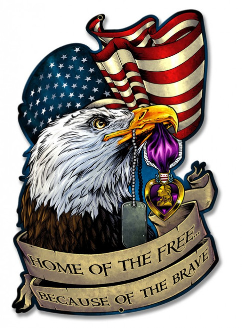 """""""TRIBUTE TO PURPLE HEART RECIPIENTS""""  METAL  SIGN"""