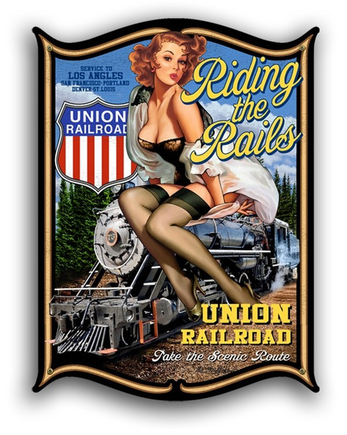 """RIDING THE RAILS"" PIN UP GIRL  METAL SIGN"