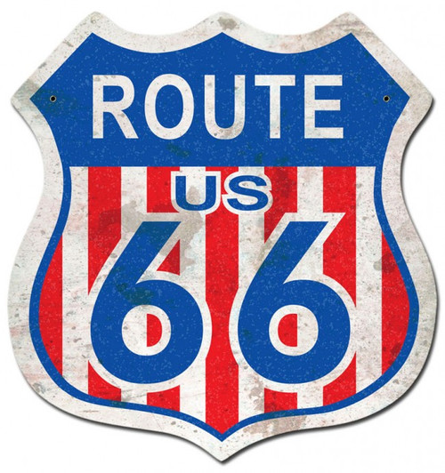 """ROUTE 66""  RED, WHITE, AND BLUE  METAL  SIGN"