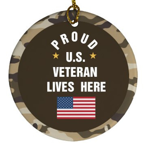 """PROUD U.S. VETERAN""  PORCELAIN  CIRCLE  ORNAMENT"