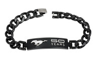 Mustang 50th Anniversary-Unisex 3D Raised Mustang 50 Years Logo Chrome On Black Bracelet