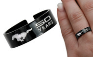 Mustang 50th Anniversary-Unisex Mustang 50th Years Chrome Logo Expandable Black Ring