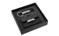 Mustang 50th Anniversary-50 Years with Pony-Black Leather Matt Chrome Card Case, Keychain Gift Set In Grey Deluxe Box