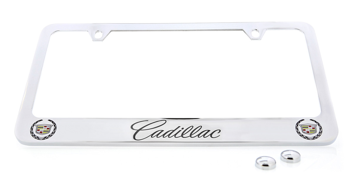 Cadillac Script Letters & Two Cadillac Logos License Plate Frame