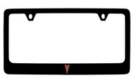 Pontiac Logo Only Black Coated Zinc License Plate Frame with Silver Imprint