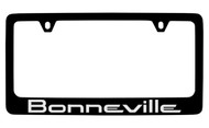 Pontiac Bonneville Black Coated Zinc License Plate Frame with Silver Imprint