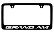 Pontiac Grand Am Black Coated Zinc License Plate Frame with Silver Imprint