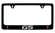 Pontiac G5 Black Coated Zinc License Plate Frame with Silver Imprint