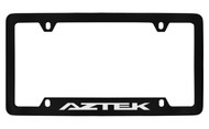 Pontiac Aztek Bottom Engraved Black Coated Zinc License Plate Frame with Silver Imprint