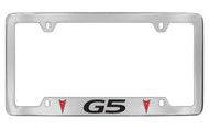 Pontiac G5 with 2 Red Logos Bottom Engraved Chrome Plated Brass License Plate Frame with Black Imprint