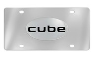 Nissan Cube Chrome Plated Solid Brass Emblem Attached To a Stainless Steel Plate