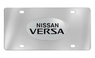 Nissan Versa Chrome Plated Solid Brass Emblem Attached To a Stainless Steel Plate