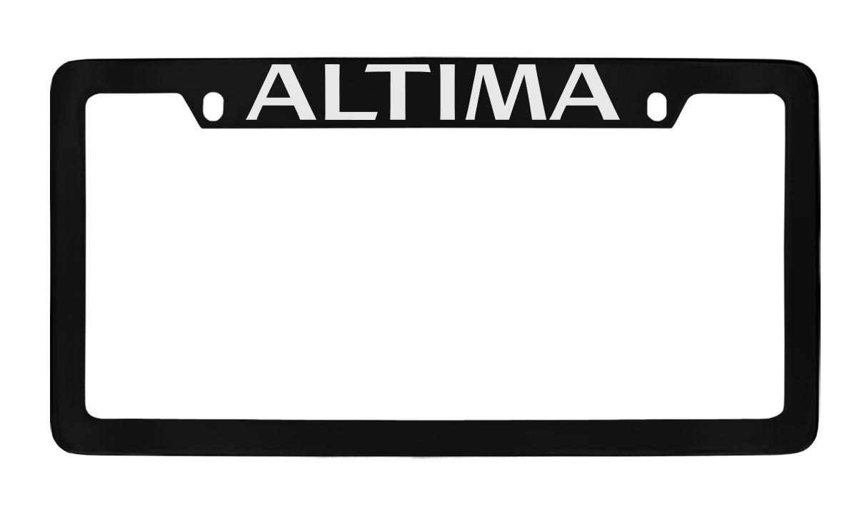 Nissan Altima Black Coated Metal Top Engraved License Plate Frame Holder
