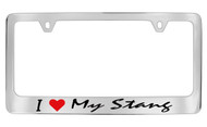 Ford I My Stang Script Chrome Plated Solid Brass License Plate Frame Holder with Black Imprint