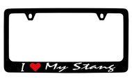 Ford I My Stang Script Black Coated Zinc License Plate Frame Holder with Black Imprint