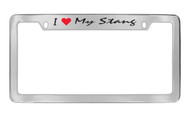 Ford I My Stang Top Engraved Chrome Plated Solid Brass License Plate Frame Holder with Black Imprint Script