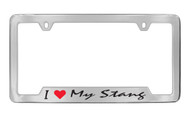 Ford I My Stang Bottom Engraved Chrome Plated Solid Brass License Plate Frame Holder with Black Imprint Script