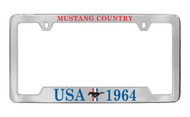Ford USA 1964 with 3 Bar and Pony Bottom Engraved Chrome Plated Solid Brass License Plate Frame Holder with Colored Imprint