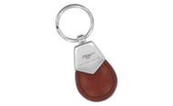 Mustang Brown Tear Shaped Leather Keychain with Brush Satin Top
