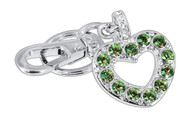 Green Heart Made with Green and Clear Crystals