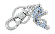 Chrome Plated Dolphin Cover with Light Blue Czechoslovakia Crystals Keychian with Clasp