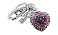 Chrome Plated Heard Lock Cover Warm Magenta and Pink Czechoslovakia Crystals Keychain with Clasp