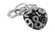Chrome Plated Numbers Heart Black Color and Clear Czechoslovakia Crystals Keychain with Clasp