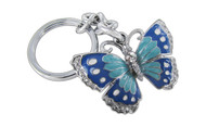 Butterfly Green and Blue Butterfly with Clear Crystals Keychain